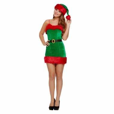 Groen/rode sexy kerstelf jurk met kerstmuts voor dames kopen