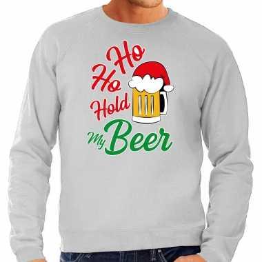 Grote maten ho ho hold my beer fout kersttrui / outfit grijs voor heren kopen