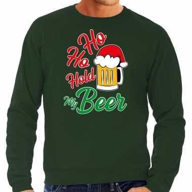 Grote maten ho ho hold my beer fout kersttrui / outfit groen voor heren kopen