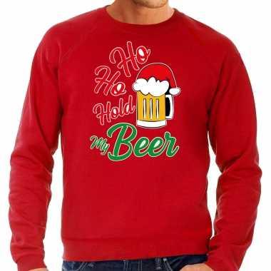 Grote maten ho ho hold my beer fout kersttrui / outfit rood voor heren kopen