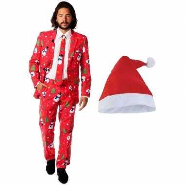 Heren opposuits kerst kostuum rood met kerstmuts maat 50 (l) kopen