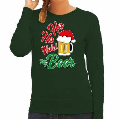 Ho ho hold my beer fout kerstsweater / outfit groen voor dames kopen