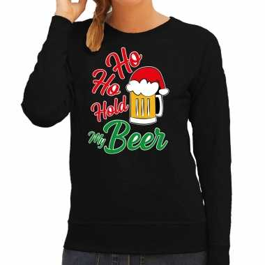 Ho ho hold my beer fout kerstsweater / outfit zwart voor dames kopen