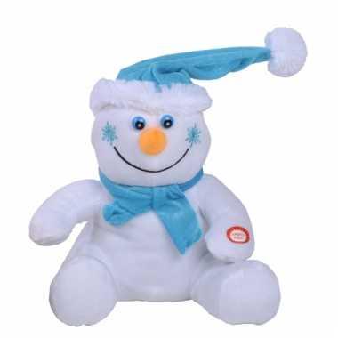Kerst decoratie sneeuwpop met muziek