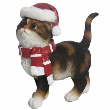 Kerstdecoratie kat/poes bruin kopen
