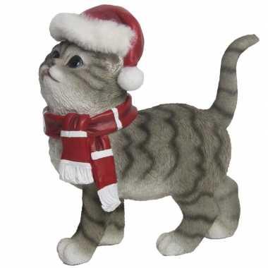 Kerstdecoratie kat/poes grijs kopen