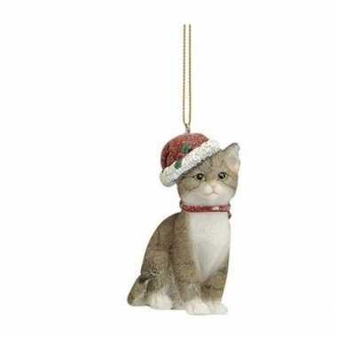 Kersthangers grijze katten met kerstmuts 9 cm kerstversiering kopen