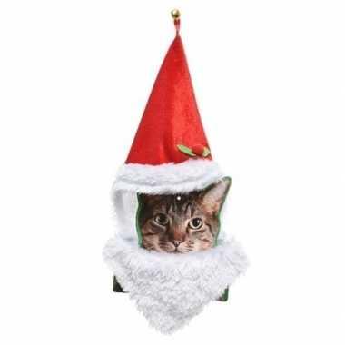 Kerstmannenpak voor katten kerstmuts en baard kopen