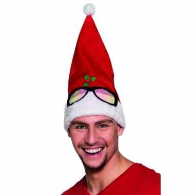 Kerstmuts met bril opdruk kopen
