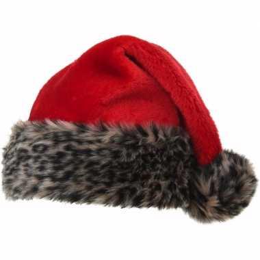 Kerstmuts met luipaard bontrand kopen