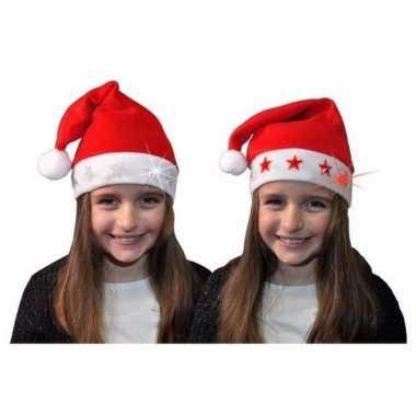 Kerstmuts met witte sterren en lichtjes voor kinderen kopen