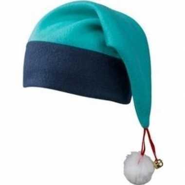 Kerstmuts navy/turquoise met belletje voor volwassenen kopen