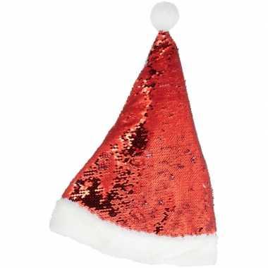 Kerstmuts omkeerbare pailletten rood/wit 47 cm voor volwassenen kopen