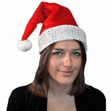 Kerstmuts rood met zilver voor volwassenen