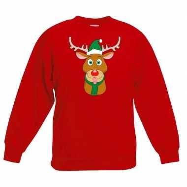 Kersttrui rendier rudolf met groene kerstmuts rood kinderen kopen