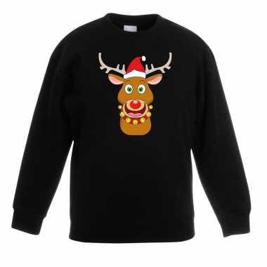 Kersttrui rendier rudolf met rode kerstmuts zwart kinderen kopen