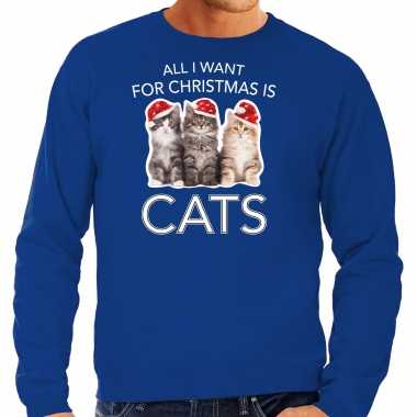 Kitten kerst sweater / outfit all i want for christmas is cats blauw voor heren kopen