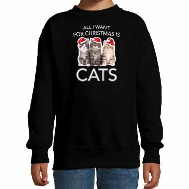 Kitten kerst sweater / outfit all i want for christmas is cats zwart voor kinderen kopen