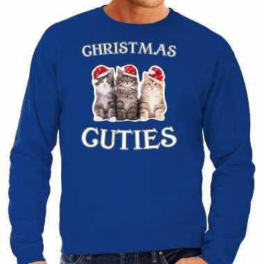 Kitten kerst sweater / outfit christmas cuties blauw voor heren kopen
