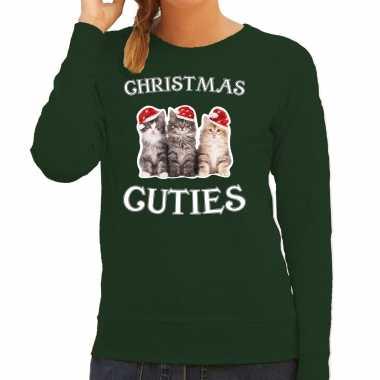 Kitten kerst sweater / outfit christmas cuties groen voor dames kopen