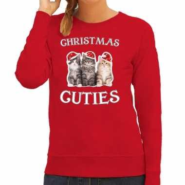 Kitten kerst sweater / outfit christmas cuties rood voor dames kopen
