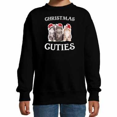 Kitten kerst sweater / outfit christmas cuties zwart voor kinderen kopen