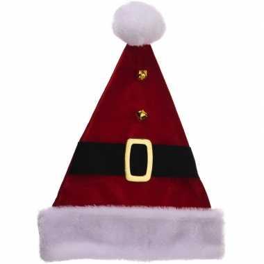 Luxe kerstmuts met riempje 40 cm kopen