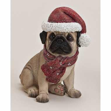 Mopshond beeldje met kerstmuts kopen