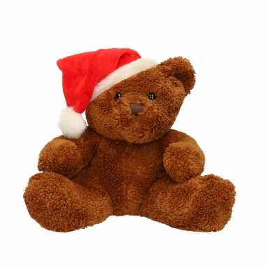 Pluche beer michaela met kerstmuts 26 cm kopen