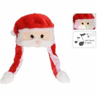 Pluche kerstmannen mutsen/kerstmutsen met muziek/geluid 60 cm kopen