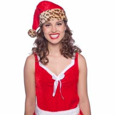 Pluche kerstmuts met luipaard print vor volwassenen kopen