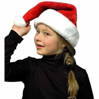 Pluche kerstmuts rood/wit voor kinderen kopen