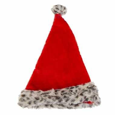 Pluche kerstmutsen met luipaard print vor volwassenen kopen
