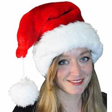 Pluche luxe kerstmuts met grote pompom kopen