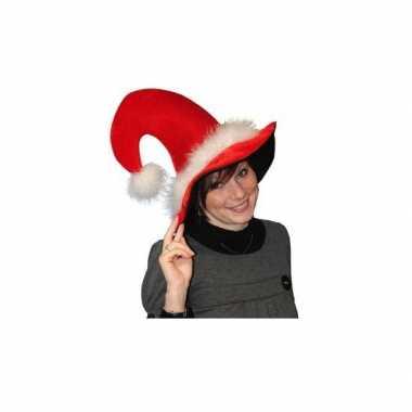 Pluche luxe kerstmuts met veertjes kopen