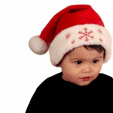 Rode baby kerstmutsen met sneeuwvlokken kopen