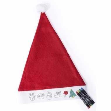 Rode inkleur kerstmuts voor kids kopen