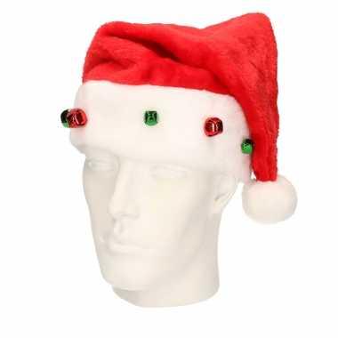 Rode kerstmutsen met gekleurde belletjes / jingle bells voor kinderen kopen