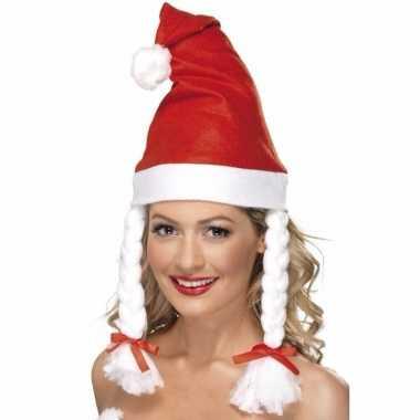 Rode kerstmutsen met vlechten kopen