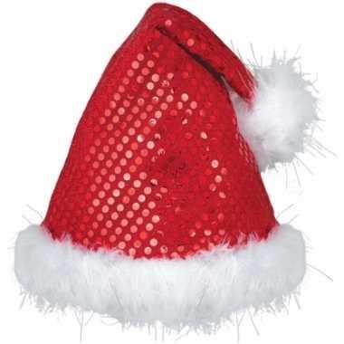 Rode luxe pailletten kerstmuts kopen