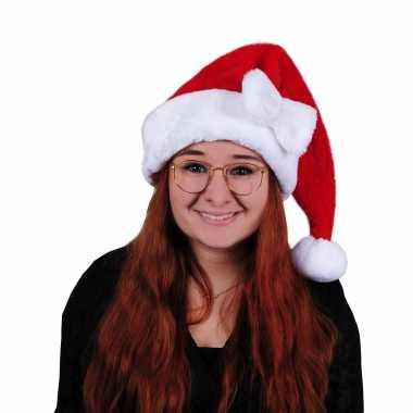 Rode pluche dames kerstmutsen met strikje kopen