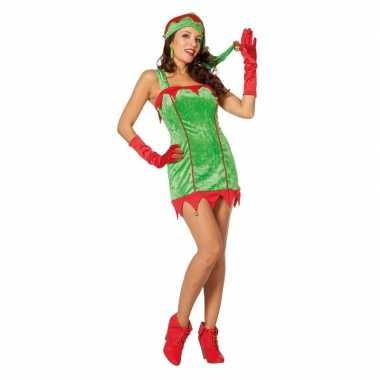 Rood/groene sexy kerstelf jurk met kerstmuts voor dames kopen