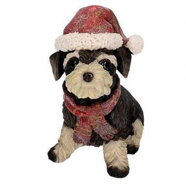Schnauzer beeldje met kerstmuts kopen
