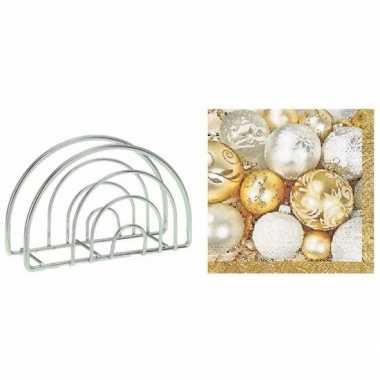 Servettenhouder met kerst servetten kerstballen kopen