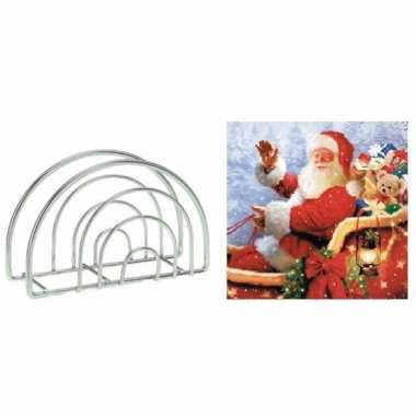 Servettenhouder met kerst servetten kerstman 10099214