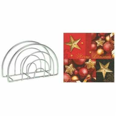 Servettenhouder met kerst servetten merry christmas sterren