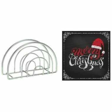 Servettenhouder met kerst servetten merry christmas zwart