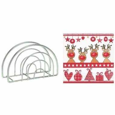 Servettenhouder met kerst servetten rendieren
