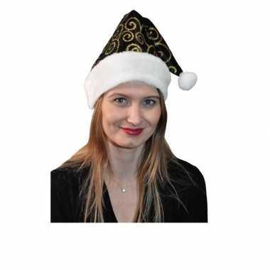 Stijlvol kerstmutsje zwart/goud kopen