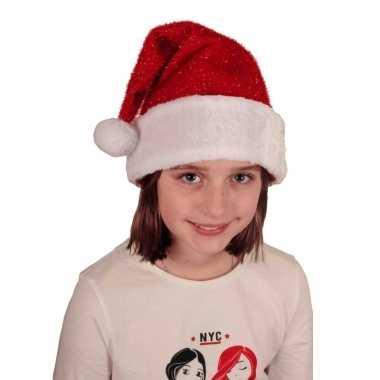 Voordelige pluche kerstmuts met glitters voor kinderen kopen